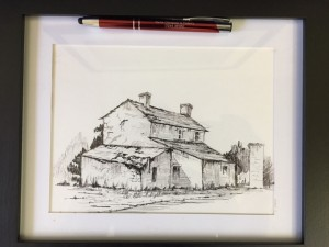 Pen and ink drawing of a cottage by GB of Chester